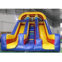 Quality Kids PVC Inflatable Dry Slide Minion Fun Cartoon Dual Lanes With Stairs for sale