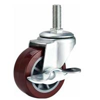 Quality 2 screw PU caster red with brake, threaded stem caster, PU castors, light duty caster, swivel casters for sale