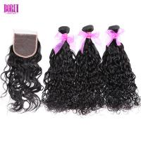 China Unprocessed Indian Human Hair , Water Wave Virgin Hair Bundles With Closure on sale