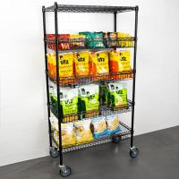 """Quality 18"""" X 36"""" X 69""""  Black Epoxy 4 Wire Grid Baskets And 1 Shelf Kit In Retail Shop For Goods Display for sale"""
