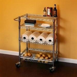 Quality Restaurant Food Storage Shelves Utility Transport Steel Cart Zinc Surface Finish for sale