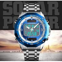 Quality New Solar  digital analog watch stainless steel outdoor sport waterproof watches for men for sale