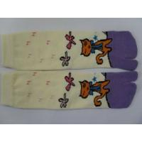 Best Custom Made Yellow + Purple Combed Cotton Separate Toe Socks With Cat Pattern wholesale