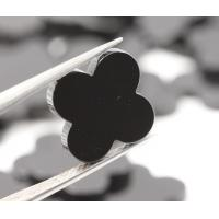 China Natural four leaf clover black agate / onyx gemstone for jewelry /black agate on sale
