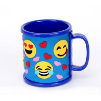 Quality Promotional Emoji Soft Touch PVC Logo Wrapped On Plastic ABS Mug For Children's Pencil Vase for sale