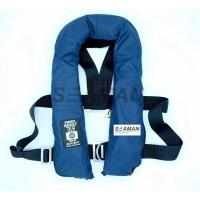 Quality SOLAS 275N Navy Blue Inflatable Life Jacket Double Air Chamber 60G Cylinder With Harness D Ring for sale