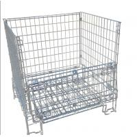 Quality Galvanized Collapsible Wire Container / Wire Mesh Palle Cage For Warehouse for sale