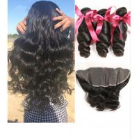 China No Tangle Loose Wave 1B 100 Virgin Human Hair Extensions 100 Grams / Piece on sale