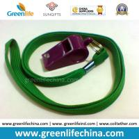 Quality Green Lanyard Whistle Flat Polyester Lanyard Holder w/Wine Red Plastic Sports Whistle for sale