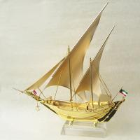 Best Business gift pure Golden Ship Model with with Zinc alloy / K9 crystal base wholesale