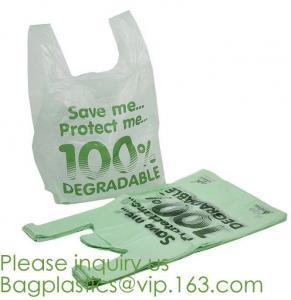 Quality compostable t shirt bag,100% Biodegradable Compostable Plastic bag,EN13432 certified compostable bag biodegradable plast for sale