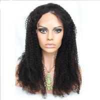 China No Shedding 360 Lace Front Human Hair Wigs Afro Kinky Curly 1b Color on sale