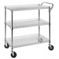 Quality Classic Commercial - Grade 3 Shelf Wire Utility Cart Adjustable Every Shelf Height for sale