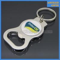 Quality Printed custom logo Interoil Zinc alloy metal bottle opener with key chain for sale