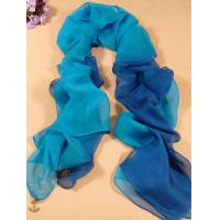 China 2013 new fashion mazarine and Light blue gradient color Hand Painted Silk Scarf/ chiffon scarves shawls on sale