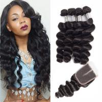 China Wet And Wavy Human Hair Extensions Peruvian Virgin Hair Deep Wave With Closure on sale