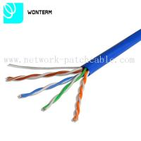 1000ft Cat5e UTP 0.5mm Solid Bare Copper RJ45 -RJ45 Plug Lan Cable Blue PVC