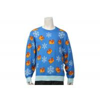 Quality Men's Long Sleeve Christmas Sweater With Candle And Snowflake Patterns In Blue for sale