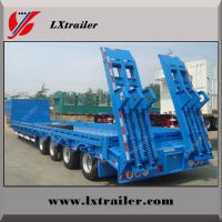 Best 15m steel 3 axle low bed semi trailer with hydraulic ramp wholesale