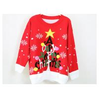 Quality Women Acrylic Jacquard Christmas Sweater Red And Black Computer Knitted for sale
