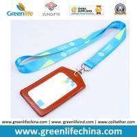 Quality Custom Printed Silkscreen Printing Logo Working Lanyard Holder w/Leather Card Holder Combo for sale