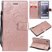 China Sony Xperia Z5 Embossing 3D Butterfly Leather Bracket Stand Wallet Case with wristlet strap on sale