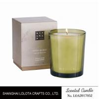 Quality Handmade Scented Soy Candles , Long Lasting Scented Candles In Green Clear Bottle for sale