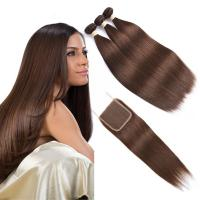 China Brown Color Ombre Human Hair Extensions / Straight Hair Weave With 4X4 Closure on sale