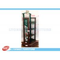 Best 4 - Shelves Solid Wood Soft Drinking Display Stand With Printing Logo / Metal Wire wholesale