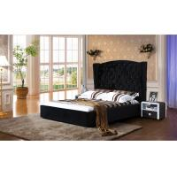 China Black Velvet Fabric Bed With Diamonds Upholstery Velvet Fabric Plush Design on sale