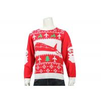 Quality Red Knitted Round Neck Office Ugly Christmas Sweater Long Sleeve Jacquard Pattern for sale