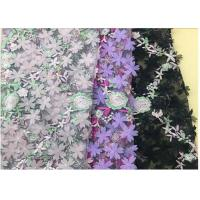 Buy 3D Flower Embroidered Stretch Mesh Fabric , Coloured Tulle Lace Fabric at wholesale prices