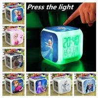Quality Frozen Alarm Clock LED 7 Colors Change Digital Alarm Clock frozen Anna Elsa Thermometer Night Colorful Glowing Toys for sale