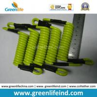 Quality Strong Short Strong Solid Lemon Green 5.0mm Coil Lanyard Tether for sale