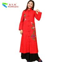 Long Padded Women Embroidered Winter Coats Chinese Style With Single Breasted
