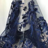 Quality Navy Blue 3D Flower Lace Fabric with Pearl Beaded Applique for Ladies Dress for sale