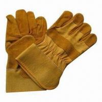 Quality Cow Split Leather Gloves, Full Palm and Half Lining Inside for sale