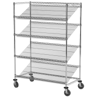 Quality H72'' Industrial Wire Rack Shelving , 800lbs Nsf Stainless Steel Shelves On Wheels for sale