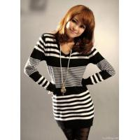 Quality Ladies Striped Sweater V-neck Dresses for sale