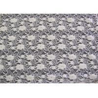 Quality Ecological Standard White Brushed Lace Fabric For Wedding Dress , Embroidered for sale