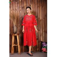 Quality Chinese Style Embroidered Cotton Dress Floral Print Pattern For Casual Life for sale