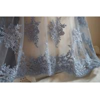 Quality Pale Blue Beaded Embroidered 3D Flower Lace Fabric By The Yard For Wedding Dress for sale