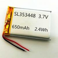 Quality CB MSDS UN38.3 approved 353448 3.7V 650mAh li-polymer battery with PCM/wires for sale