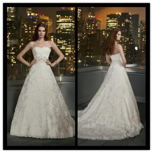 Quality Lace Vintage Empire Line Wedding Dresses , Chapel Train Bridal Gowns for sale