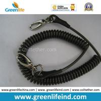 Quality Anti-Drop Black Spring Coil Tool Lanyard W/Oval Hooks for sale