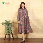 Quality Ladies Long Sleeve Cotton Shift Dress Floral Loose Irregular Bottom Design for sale