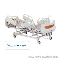 Quality Powder - coated Steel Manual Three Crank Medical Hospital Beds With ABS Guardrail , Center Control Brake for sale