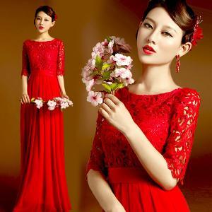 China Red Lace Half Sleeveless Floor Length Bridal Dress Gorgeous Evening Dress TSJY145 on sale
