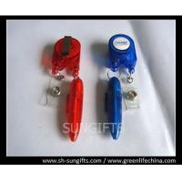 Quality Red/blue stylish badge reel with ball pen and clear vinyl strap for sale