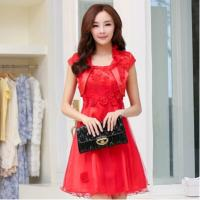 Best Red Classic Womens Suit Dress formal wedding gowns with flowers wholesale